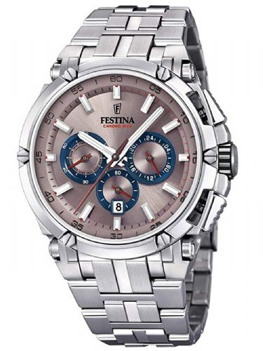F20327/5 Festina Mens  Bracelet Watch With An Unusual Pinky Brown Dial And Rose Features